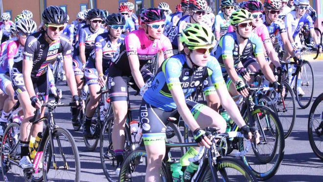 The UCI women make their way down Bullard Street in Silver City after the start of the Silver City to Mogollon Road Race.
