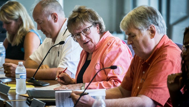 Debbie Feick during a school board meeting at the Muncie Area Career Center Friday afternoon.