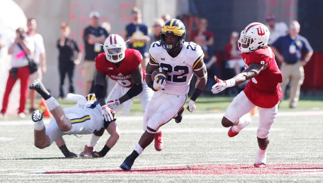 Michigan running back Karan Higdon was the main beneficiary of the Wolverines' power run game last week against Indiana.