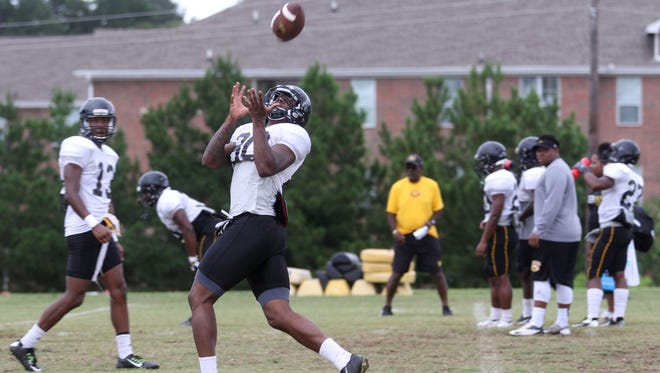 Wide receiver Montrel Meander catches the ball during a scrimmage practice at Grambling State University on Saturday, August 13, 2016.