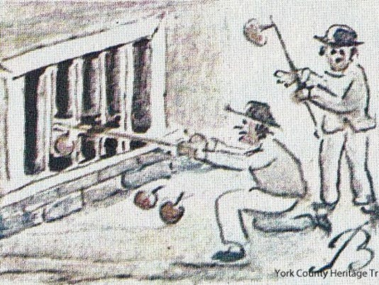 Small Lewis Miller drawing of Lewis Hausigel and George Smith hooking apples from George Sheffel's cellar in 1805,