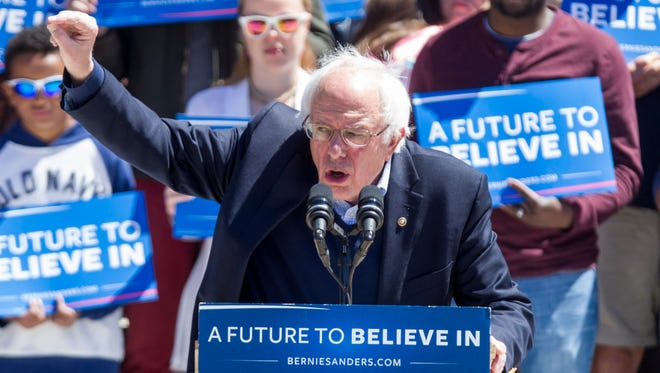 Democratic presidential candidate, U.S. Sen. Bernie Sanders (D-VT) speaks during a rally at Roger Williams Park on Sunday in Providence, Rhode Island.
