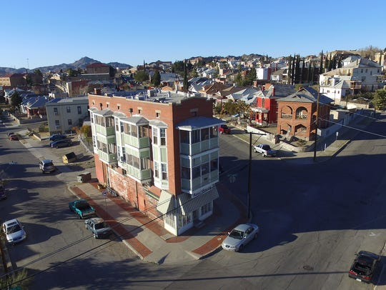 An aerial view of the Sunset Heights neighborhood near Downtown.