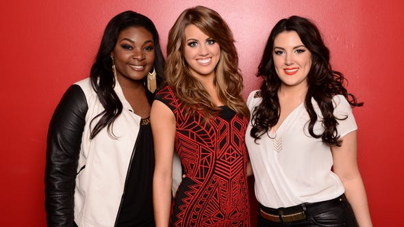 Candice Glover, left, Angie Miller and Kree Harrison each hope to be named America's Idol.