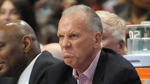 Philadelphia 76ers head coach Doug Collins watches from the bench during the fourth quarter at the Wells Fargo Center.