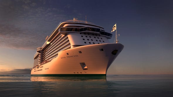 An artist's drawing of Princess Cruises' soon-to-debut, 3,600-passenger Royal Princess.