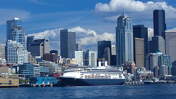 Holland America Line's Amsterdam docked in Seattle.