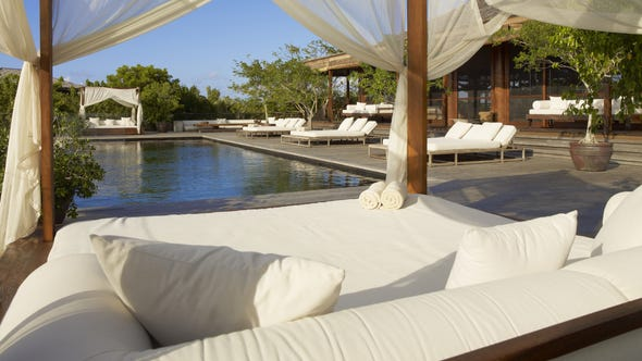 Part of Donna Karan's The Sanctuary compound at the Parrot Cay resort. It includes several villas.