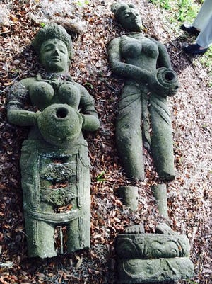 This Feb. 18, 2015 photo made available by Phyllis Olmstead, shows stone sculptures on the grounds of the Museum of Apopkans in Apopka, Fla.