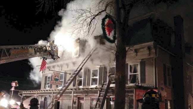 The Kleinfeltersville Hotel in Kleinfeltersville was heavily damaged by fire early Wednesday.