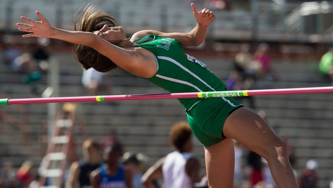 Wall's Sam Rocha competes in the 3A girls high jump during the UIL State Track and Field Championships at Mike A. Myers Stadium in Austin, Texas, Friday, May 11, 2018.