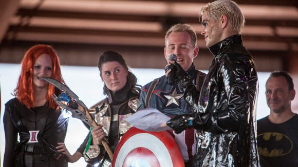 Matthew Jacobson interviews cosplayers dressed as The
