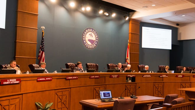 The Escambia County Commission on Thursday, Feb. 1, 2018, discussed a proposed flyover on Nine Mile Road.
