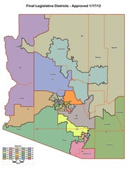 Arizona legislative districts, as approved in January