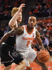 Clemson guard Marcquise Reed (2) during the first half at Littlejohn Coliseum in Clemson on Tuesday.