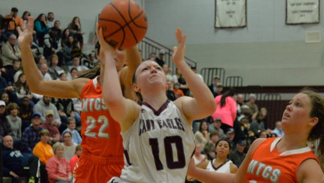 Eagleville's Kristin Barnes (10) scored 12 points in a 44-39 win over Moore County on Monday in the District 9-A quarterfinals.