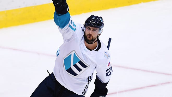 Europe's Tomas Tatar celebrates his goal against Canada during the second period of Game 1 of the World Cup of Hockey finals, Tuesday in Toronto.