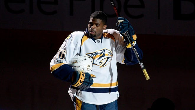 Predators defenseman P.K. Subban salutes fans of his former team prior to facing the Montreal Canadiens on March 2, 2017.