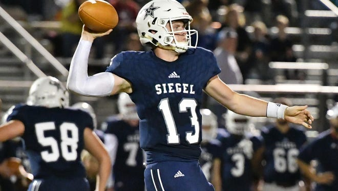 Siegel quarterback Brendan Crowell fires a pass during a recent game. Crowell was 7-of-12 for 142 yards and two TDs in a 43-35 win over Coffee County Friday night.