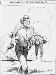 "This cartoon by J. N. ""Ding"" Darling ran in the Nov. 8, 1917, issue of the Des Moines Register. An engraving of the cartoon is featured on the state monument to Merle Hay in Glidden."