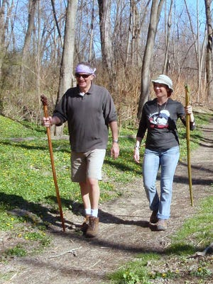 Chemung River Friends Executive Director Jim Pfiffer hikes the West Elmira Trail with Jessica Janowsky, owner of the Ultimate Fit Chick.