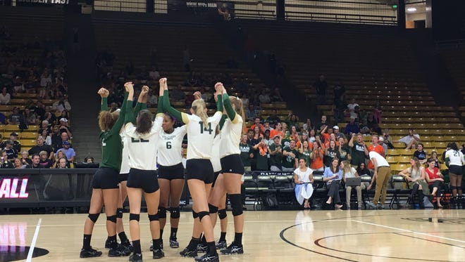 The CSU volleyball team played CU in Boulder on Saturday night.