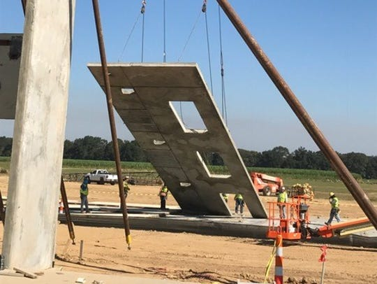 Crews install structural panels at Southside High School