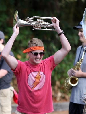 Junior Tate Wadsworth share a laugh while practicing during Sprague High School's band camp on Monday, Aug. 31, 2015, in Salem.