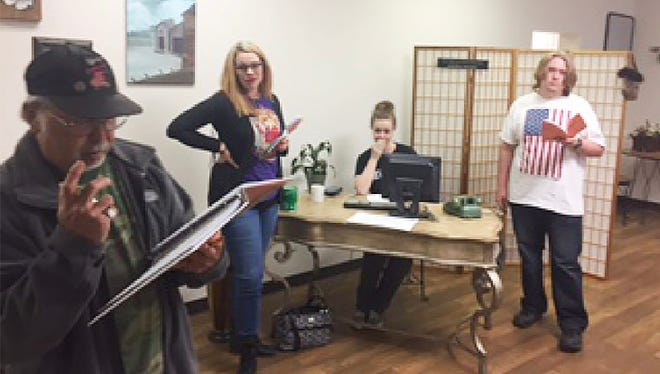 Members of the Fairview Community Theater group rehearse for their upcoming play.