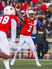 Southern Utah quarterback Patrick Tyler (3) attempts a pass during Saturday's game against Northern Arizona, November 18, 2017, in Cedar City, Utah. Southern Utah defeated Northern Arizona 48-20 to claim the Big Sky title.