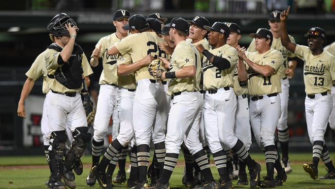Vanderbilt players celebrate after beating Clemson 8-0 Monday to clinch an NCAA Regional title in Clemson, S.C.