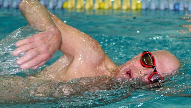 Eighty-five-year-old Far Hills resident Dr. Paul Kiell in the pool Monday, Nov. 30, 2015, at the Somerset Hills YMCA in Bernards.