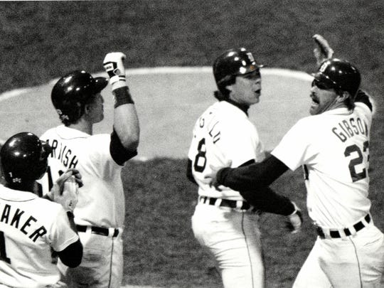 Detroit Tigers players Lou Whitaker, Lance Parrish, Marty Castillo and Kirk Gibson celebrate Gibson's home run against the San Diego Padres in Game 5 of the 1984 World Series.