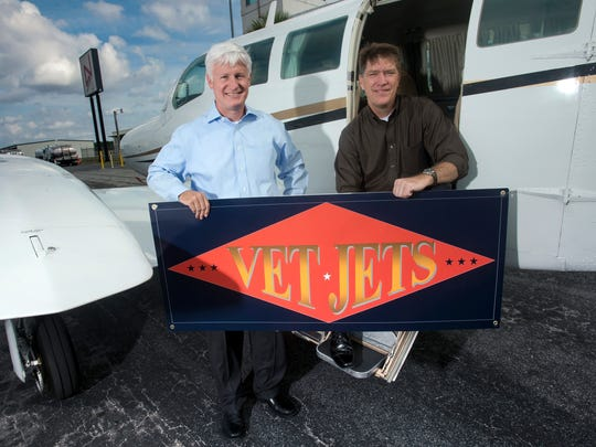 Vet Jets board member, Norm Brozenick, left, and CEO