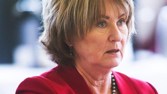 University of Arizona President Ann Weaver Hart listens during the Arizona Board of Regents meeting at Arizona State, Thursday, February 4, 2016.