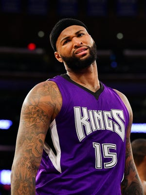 Mar 20, 2016; New York, NY, USA; Sacramento Kings center DeMarcus Cousins (15) reacts against the New York Knicks during the third quarter at Madison Square Garden. The Sacramento Kings defeated the New York Knicks 88-80. Mandatory Credit: Steven Ryan-USA TODAY Sports