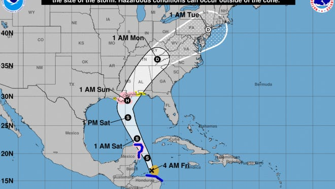 Forecast of Tropical Storm Nate as of 7:30 a.m. on Friday, Oct. 6, 2017.