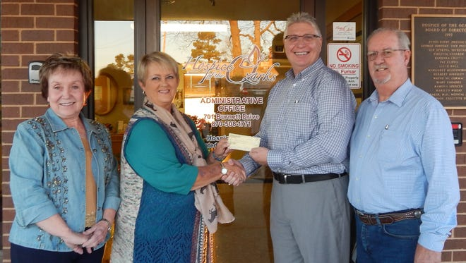 The Southern Classic Fox Trotting Horse Show was held July 21-22, 2017, atthe Bar None Cowboy Church Arena in Midway.Thanks to the generosity of the sponsors and Southern Classic patrons, a donation of $1,000 was made to Hospice of the Ozarksin Mountain Home. Participating in the check presentation were (from left)Karyn Vaughan, Vice-President of SCFTHS;Beverly Frizzell, SCFTHS President; Greg Wood, Executive Director of Hospice of the Ozarks; and Terry Frizzell, SCFTHS Secretary/Treasurer. The 2018 Show will be held June 21at the Bar None Arena in Midway, with the Southern Classic Fox Trotting Horse Show hopingto make another substantial donation to Hospice of the Ozarks.Make plans to attend and enjoy the wonderful fox trotters and support Hospice of the Ozarks.