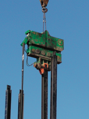 A pile hammer similar to the one used on the crane