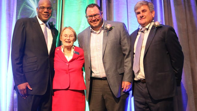 On Thursday, community and business leaders were recognized during the 22nd Annual Distinguished Awards sponsored by Leadership Tallahassee. Winners from left to right: The Rev. R.B. Holmes Jr., Mary Pankowski, Matt Thompson and Jeff Phipps.
