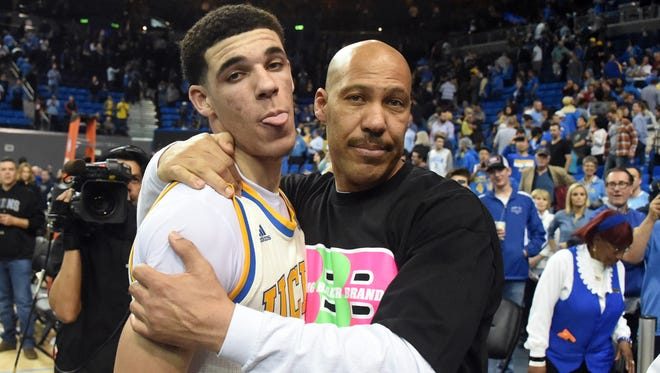 LaVar Ball has introduced a line of shoes for his son Lonzo, who is heading to the NBA. You can have them, and their exorbitant price tags, says Paul Daugherty. Mar 4, 2017; Los Angeles, CA, USA; Lavar Ball embraces his son UCLA Bruins guard Lonzo Ball (2) after the game against the Washington State Cougars at Pauley Pavilion. Mandatory Credit: Richard Mackson-USA TODAY Sports