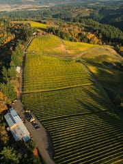 Aerial view over Kramer winery and estate vineyard in the Yamhill-Carlton AVA.