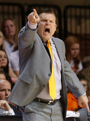 Oklahoma State head coach Brad Underwood shouts to his team in the first half against Arkansas-Pine Bluff in Stillwater, Okla., Wednesday, Dec. 14, 2016.
