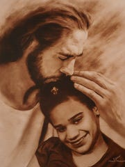 A portrait of Aleah Beckerle and Jesus was placed near