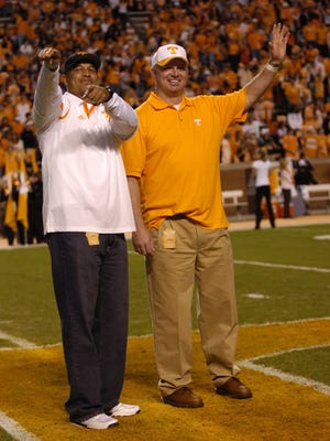 UT legends of the game, former players Carl Pickens and Andy Kelly were recognized before the game on Oct. 3, 2009, at Neyland Stadium.
