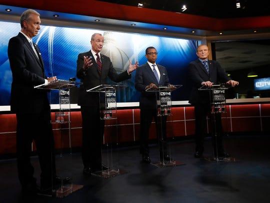 Democratic gubernatorial candidates, from left, Assemblyman John Wisniewski, Phil Murphy, Jim Johnson and Sen. Ray Lesniak at the Democratic primary debate in Newark on May 11, 2017.