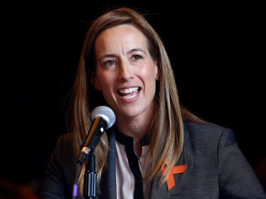 Democrat Mikie Sherrill of Montclair holds a slight
