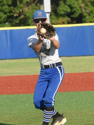 Mountain Home's Dillon Drewry catches a throw during a recent practice at McClain Park. The 13-year-olds are hosting the Babe Ruth World Series in Mountain Home from Aug. 9-16.