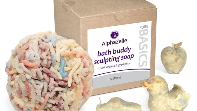 AlphaZelle's Bath Buddy Sculpting Soap, made from pliable ground organic soap scraps, can be molded into fun shapes and used once it hardens.