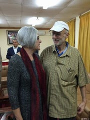 This handout photo from the Twitter account of Sen. Jeff Flake, R-Ariz. shows Alan Gross with his wife, Judy, before leaving Cuba, Wednesday, Dec. 17, 2014. The U.S. and Cuba have agreed to re-establish diplomatic relations
